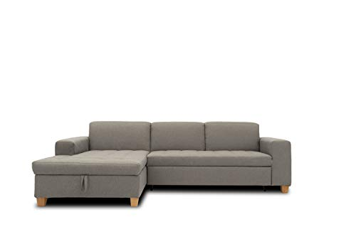 DOMO Collection Sugar Ecksofa | Sofa mit Schlaffunktion in L-Form, Eckcouch mit Bett, Hellgrau, 266x162x80 cm