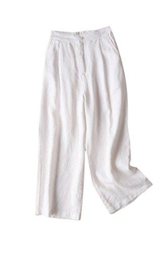 Pantalones De Algodón Y Lino para Mujer Pantalones Anchos Talla Grande Blanco XXL