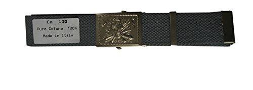 SBB Cintura militare fibbia Esercito Italiano Verde OD Kaki Grigio made in Italy (120 cm, Grigio)