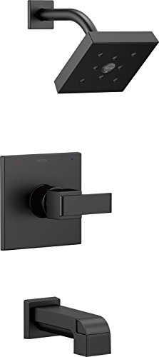 Delta Faucet Ara 14 Series Single-Function Tub and Shower Trim Kit with Single-Spray H2Okinetic Shower Head, Matte Black T14467-BL (Valve Not Included)