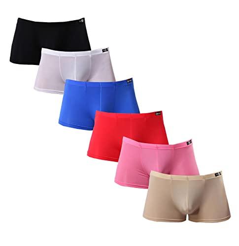 Seidige Boxershorts für Herren, kurzes Bein, Unterwäsche, Pack Gesundheit zu tragen, 6er-Pack, Medium
