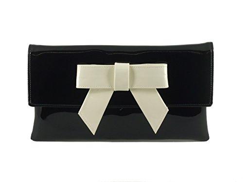 LONI - Elegante Handtasche aus Kunstleder mit Lack-Finish, schwarz mit elfenbeinfarbiger Schleife (Schwarz) - Cute Patent-Jazz Ivory Bow
