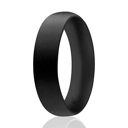 ROQ Silicone Wedding Ring for Men, Affordable Comfort Fit 6mm Manly Metallic Silicone Rubber Wedding Bands - Black - Size 7