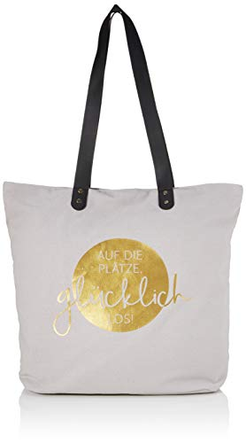 Grafik-Werkstatt Shopper Damen | Tasche | Shopping-Bag | Leinen | grau-gold | glücklich