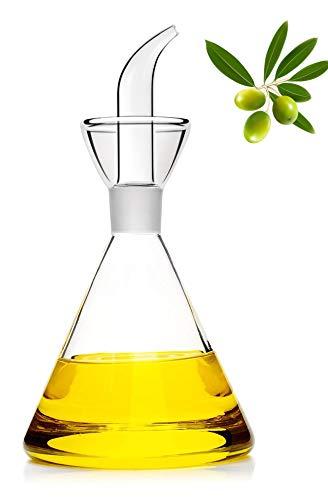 125ml-Botella dispensadora de aceite de oliva de vidrio transparente - vinagrera de aceite y vinagre con verter sin goteo y sin necesidad del embudo - Decantador de aceite de oliva para cocina y BBQ
