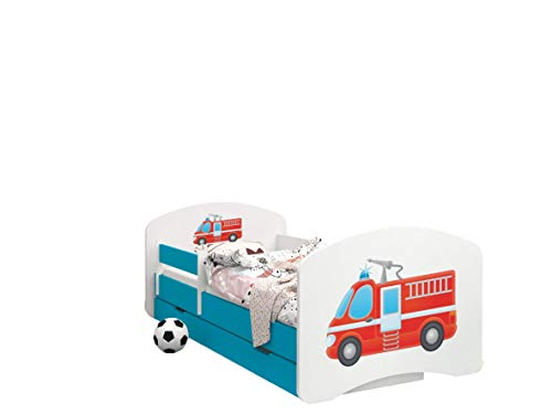 Happy Babies - Doppelseitiges KINDERBETT MIT SCHUBLADE Modernes Design mit sicheren Kanten und Absturzsicherung Schaumstoffmatratze 7 cm Blau (Feuerwehrauto, 180x90)