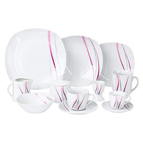 Van Well | 62-TLG. Kombi-Geschirr Melina für 6 Personen | Tafel-Service + Kaffee-Set + Zubehör | abstrakte Streifen grau-lila | edles Porzellan