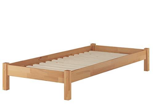 Erst-Holz® Buche-Bett Futonbett Einzelbett 90x200 Massivholzbett Natur Rollrost 60.84-09