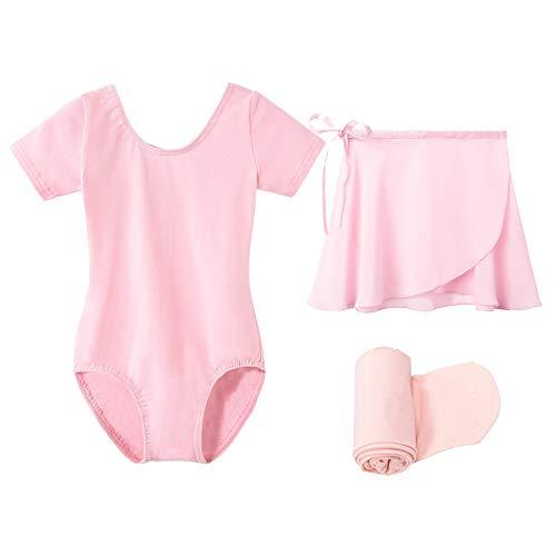 STELLE Short Sleeve Ballet Leotard Combo with Dance Skirt and Dance Tight (Ballet Pink, 90)