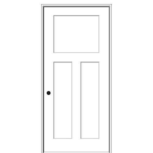 National Door Company ZZ09485R Solid Core Molded Craftsman 3-Panel, Right Hand Prehung Interior Door, 30