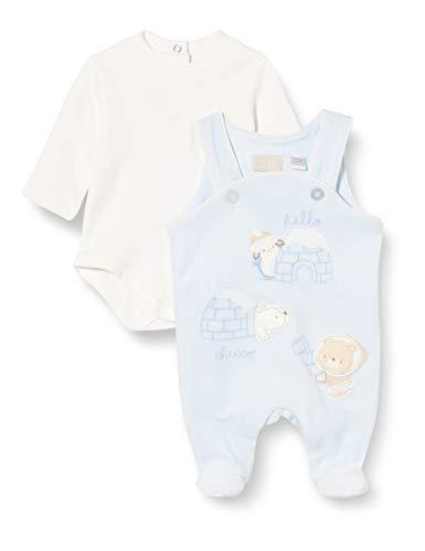 Chicco Completo Body A Manica Lunga + Tutina Senza Maniche Mamelucos para bebés y niños pequeños, Azzurro, 44