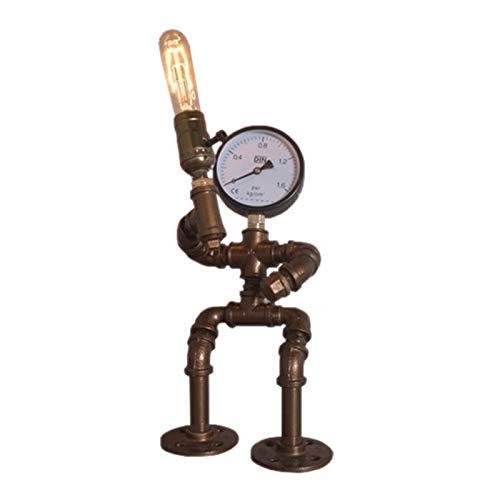 ZZSJC Lámpara De Mesa De Robot De Hierro Creativo, Lámpara De Mesa De Tubo De Agua Retro, Bar, Restaurante, Cafetería, Decoración Steampunk E27