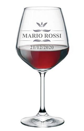 Calice da Vino Personalizzato con Nome Incisione Compleanno (Nome e Data di Nascita) - Idea Regalo Compleanno - Regali Originali - Bicchiere in Vetro Chiaro, ca 500ml