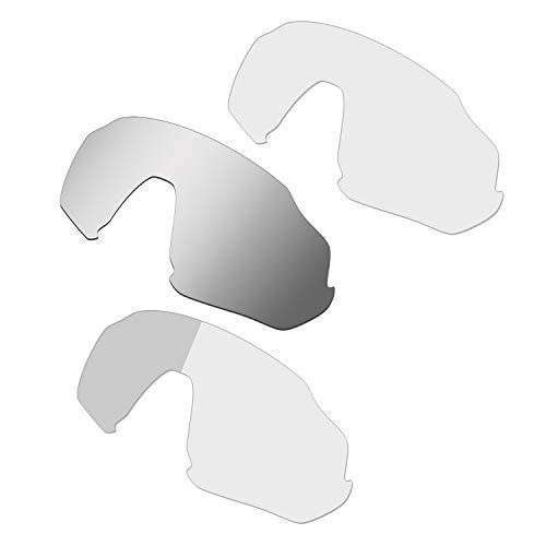 HKUCO Renforcer Rechange Lentille Pour Oakley Flight Jacket Lunettes de soleil Silver/Transparent/Photochromique Polarisé