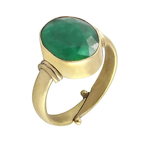 Arenaworld Handmade Natural Certifed 9.50 Carat Green Emerald Panchadattu Gold Plated Ring For Men And Women