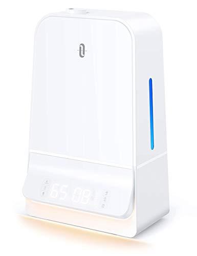 TaoTronics 6L Luftbefeuchter Ultraschall, Raumbefeuchter Leise mit LED-Anzeige Timer und Feuchtemonitor, Einfach zu Säubern, Air Humidifier für Schlafzimmer bis 40-70 m²