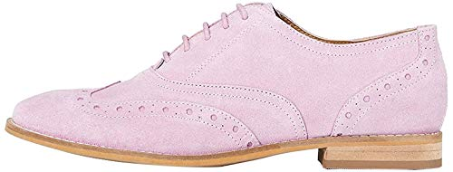 Marca Amazon - find. Leather Zapatos de Cordones Brogue, Pink (Winsome Orchid), 37 EU