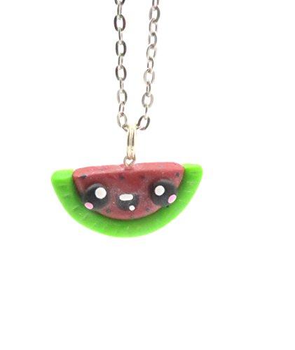 schmuck-stadt Kawaii Wassermelonen Kette 60 cm Obst Anhänger Modeschmuck