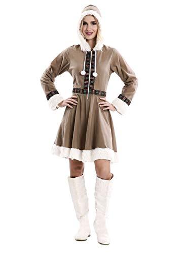 Generique - Eskimo-Kostüm für Damen Faschingskostüm braun-Weiss