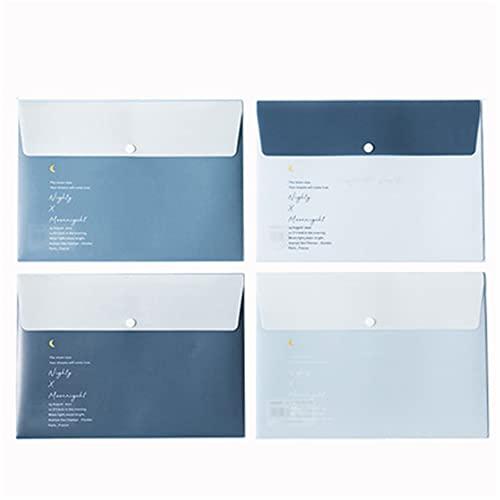 Aoteman, 4 pezzi di formato A4 traslucido a pressione per documenti, raccoglitore documenti in PP impermeabile, borsa per documenti di grande capacità (A)