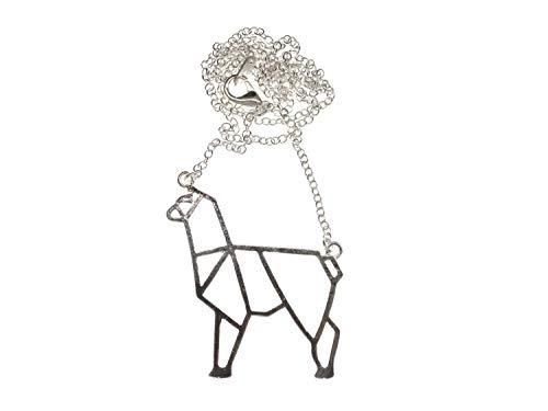 Miniblings Lama Alpaka Origami Halskette - Handmade Modeschmuck I Kette mit Anhänger Länge: 50cm - Peru Kamel