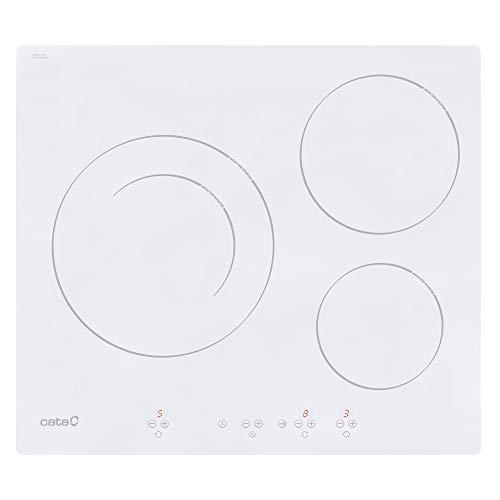 Cata | placa de Inducción | Modelo IB 6203 WH | 3 Zonas de Cocción | 9 Niveles de Potencia Regulables + Booster | Ancho de 59cm | Color Blanco