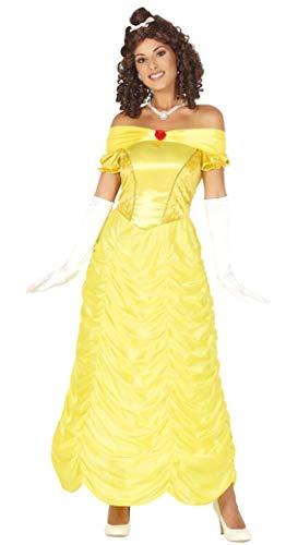 Guirca- Costume Belle Bella Bestia Donna Adulta Taglia M 38-40, Colore Giallo, 88605