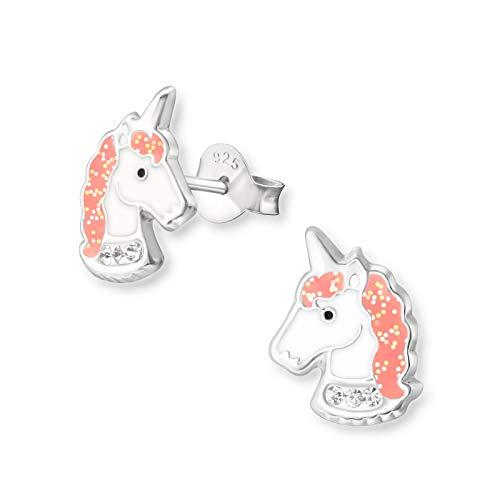 Tiwoca Jewellery - Pendientes para niña de unicornio rosa con cristales de plata de ley 925, incluye estuche de alta calidad y gamuza de pulido