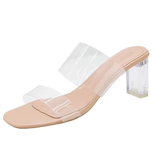 Transparent Hausschuhe für Damen/Dorical Sommer Frauen Schuhe Offene Stiefel SchnüRen Stiefel Bequeme Absatzschoner, Kristall Transparente PVC Hausschuhe Ausverkauf(Weiß-6cm,39 EU)