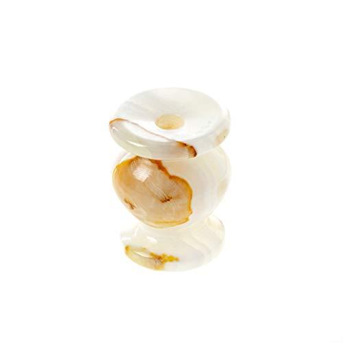 Danilovo - Portacandela in onice naturale per candele sottili, supporto per candele Orodox di Onyxmarmor, ideale per candele fino a Ø 9 mm (altezza 6,3 cm)
