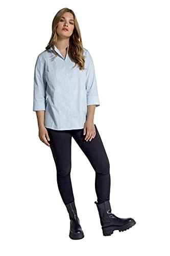 Ulla Popken Damen große Größen Übergrößen Plus Size Bluse, Karo, Kelchkragen, V-Ausschnitt, 3/4-Arm himmelblau 54+ 799365700-54+