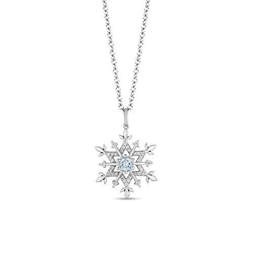 Colgante de diamante de copo de nieve de 4 mm y 1/4 CT. T.W. D/VVS1 con cadena de 45 cm en plata de ley 925
