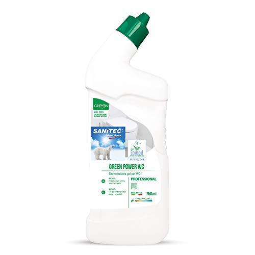 Sanitec Green Power Wc Gel, Detergente Disincrostante per WC, Ecologico, 750 ml