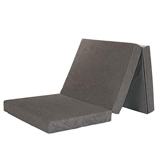 LCP Kids 2in1 Klappbare Gästematratze 195 x 80 cm – Als Gästebett Schaumstoffmatratze oder als bequemer Sitzhocker – GRAU