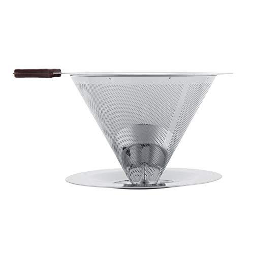 Kuuleyn Filtro de café, Filtro de café de Acero Inoxidable, gotero de Doble Capa con Soporte para Taza