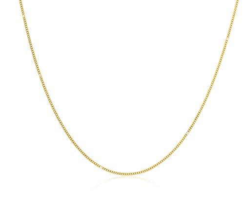 Miore ketting uit 14 karaat 585 geelgoud/witgoud platte anker schakel met lengte 45 cm
