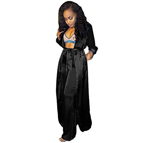 Womens 2 Piece Outfits Satin Silk Open Front Cardigan Kimono Cover-Up with Wide Leg Long Pants Set Black L