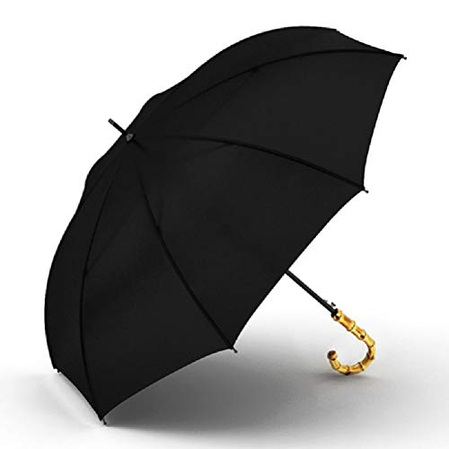 WUHUAROU Paraguas de Mango Largo de bambú Natural, Paraguas Negros semiautomáticos a Prueba de Viento, Regalos de Empresa, Parasol de 8 K (Color : Black)
