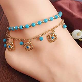 Women Jewelry Anklets - Turquoise Beads Alloy Chain Tassel Crystal Anklets Jewelry -2 X AnkletNotice: 1.Due to the difference between different monitors the picture may not reflect the act