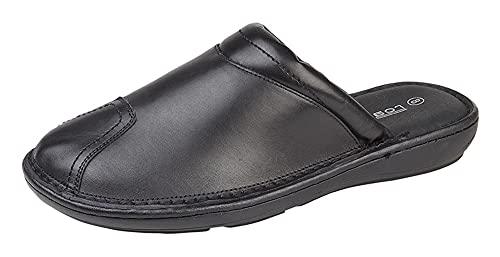 Roamers M024 - Zapatillas de piel para hombre con forro acolchado y suela de poliuretano, Black, 42 2/3 EU