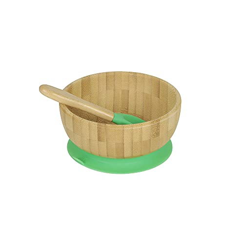 BIOZOYG Juego de bols de bambú Redondo I Bol con Ventosa y Cuchara - Certificado FSC I Bol Madera de bambú para niños - Tazón de Papilla y de Cereales para bebés I Vajilla de bambú Redonda Verde
