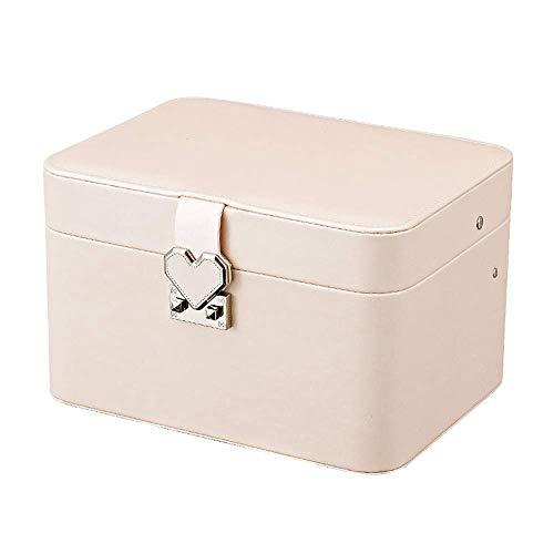 ADSE Schmuckschatulle, Abgerundete automatische CD-Aufbewahrungsbox Mehrschichtige Desktop-Schmuckschatulle Tragbare Kosmetiktasche
