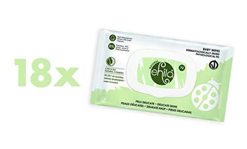 Ehilà - Salviettine Baby Delicate con Estratti Biologici di Aloe ed Althea - Certificate Natural Cosmetic - Scatola da 18 confezioni (Totale 1296 Salviette)