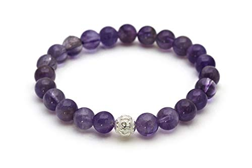 Amatista pulsera de perlas genuinas con piedra natural y perlas de plata de ley 925 - BERGERLIN