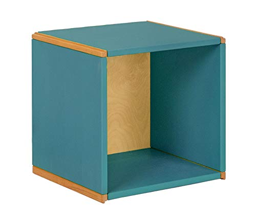 BioKinder 24707 Wandregal Hängeregal Würfelregal Wunderwürfel aus Massivholz Kiefer 35 x 32 x 35 cm blau lasiert