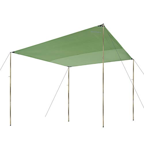 CampAir Tarp 3x3 Sonnenschutz Rechteckig, Robustes Gewebe 300 x 300 cm, UV Schutz, Grün