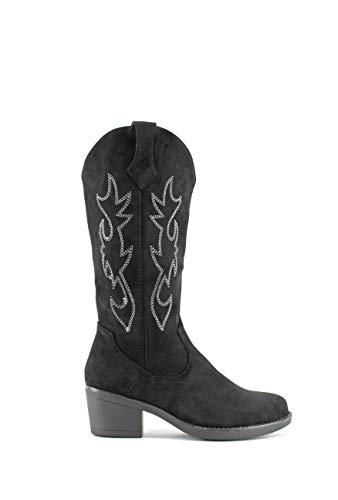 Modelisa - Bota Tejana Cowboy para Mujer (Negro, Numeric_36)