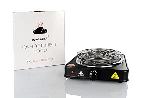 Asmaan Fahrenheit 1000, encendedor de carbón 1000 W, espiral de acero inoxidable V2A de alta calidad, duradero y caliente en 7-8 minutos + incluye parrilla de carbón