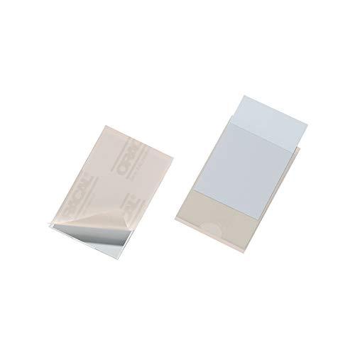 Durable Visitenkartentaschen aus PVC, seitlich offen, selbstklebend, 93 x 62 mm, 100 Stück