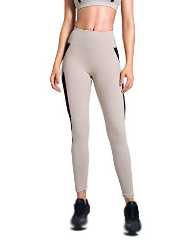 XIAOQSM Pantalones de Yoga Leggings para Mujer, Leggings de Control de la Panza, Ropa Deportiva de Fitness de Alta Cintura Alta Apricot-L